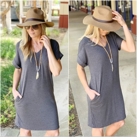 Infinity Raine Dresses & Skirts - Charcoal V Neck Tee Shirt Dress